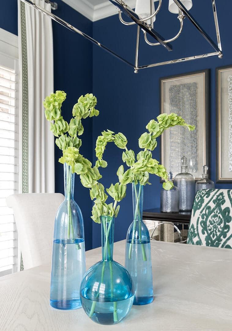 Dining Room Decorating Ideas | Blue Glass Vases | Dallas Interior Designer