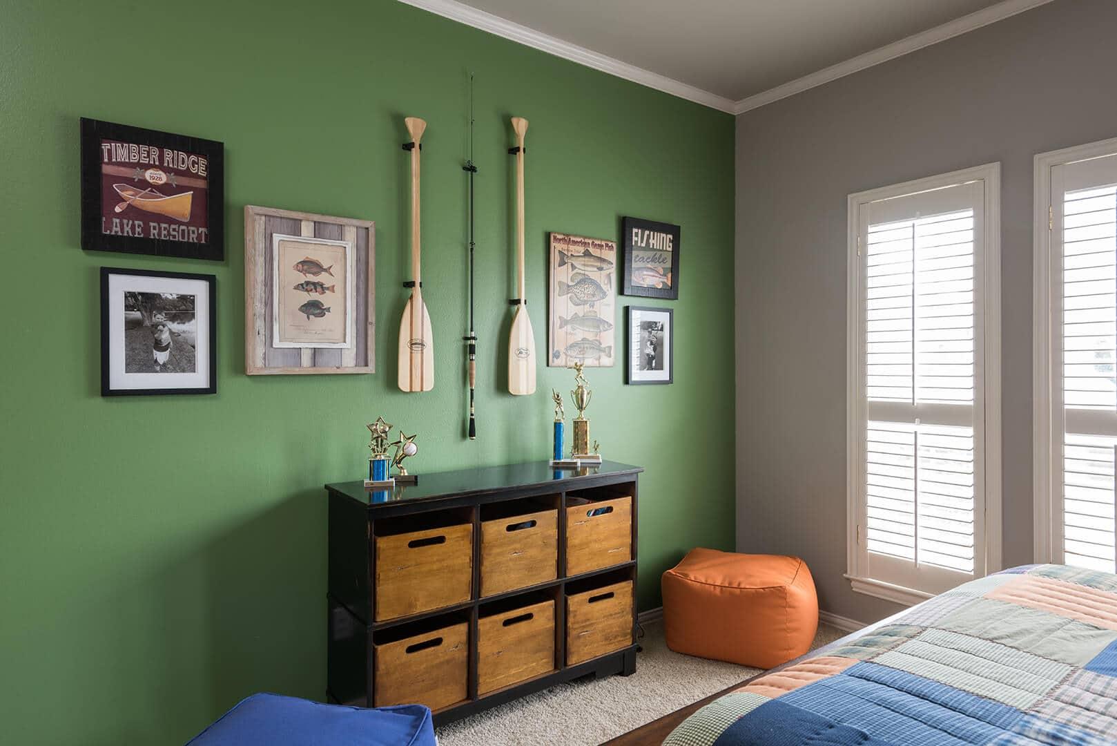 Green & Plaid Boys Lake Room Decorating Ideas | Dallas Interior Decorator, r by Dee Frazier Interiors Decorating Den Interiors the best Dallas Interior Designer