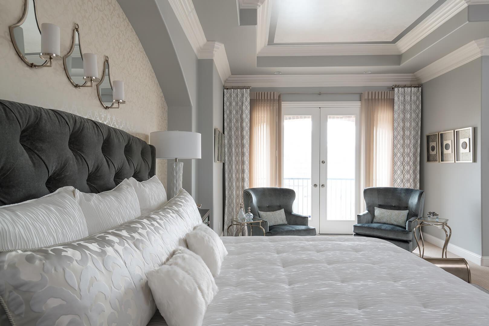 Gray & White Master Bedroom Decorating Ideas by Dee Frazier Interiors Decorating Den Interiors the best Dallas Interior Designer