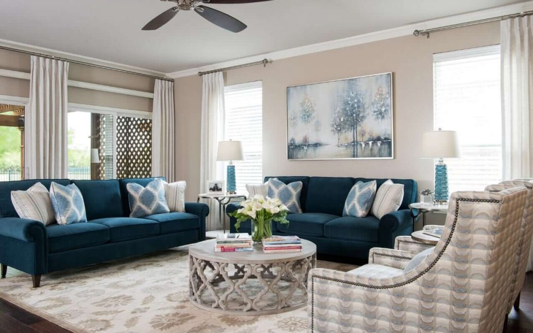 3 Navy & Neutral Living Room Design Ideas