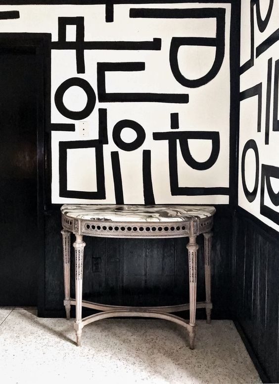 justyn, graphic monochrome wallpaper trends, 2020 wallcovering trends,