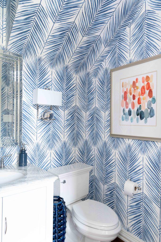 blue palm leaf wallpaper by seabrook, Dallas texas, powder room, bathroom design by Dee Frazier Interiors, Dallas Interior Designers