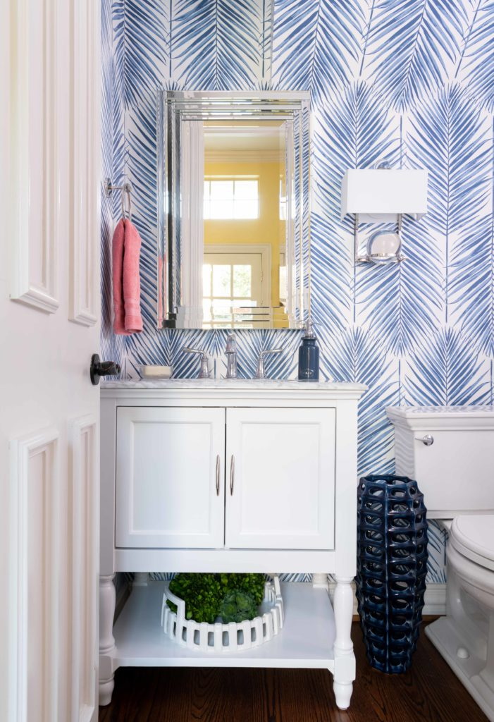 blue palm leaf wallpaper with white vanity cabinet seabrook, Dallas texas, powder room, bathroom design by Dee Frazier Interiors, Dallas Interior Designers