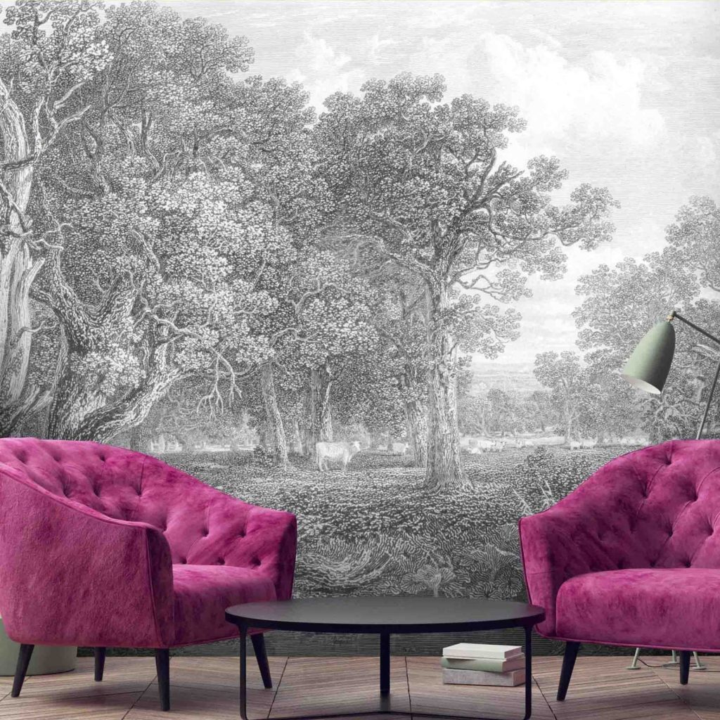 toile wall mural, monochrome wallpaper trends, 2020 wallcovering trends,