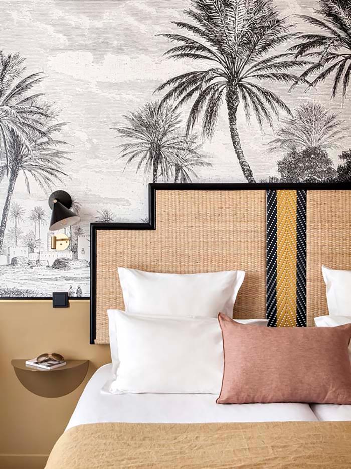 doisy, black palm tree monochrome wallpaper trends, 2020 wallcovering trends,