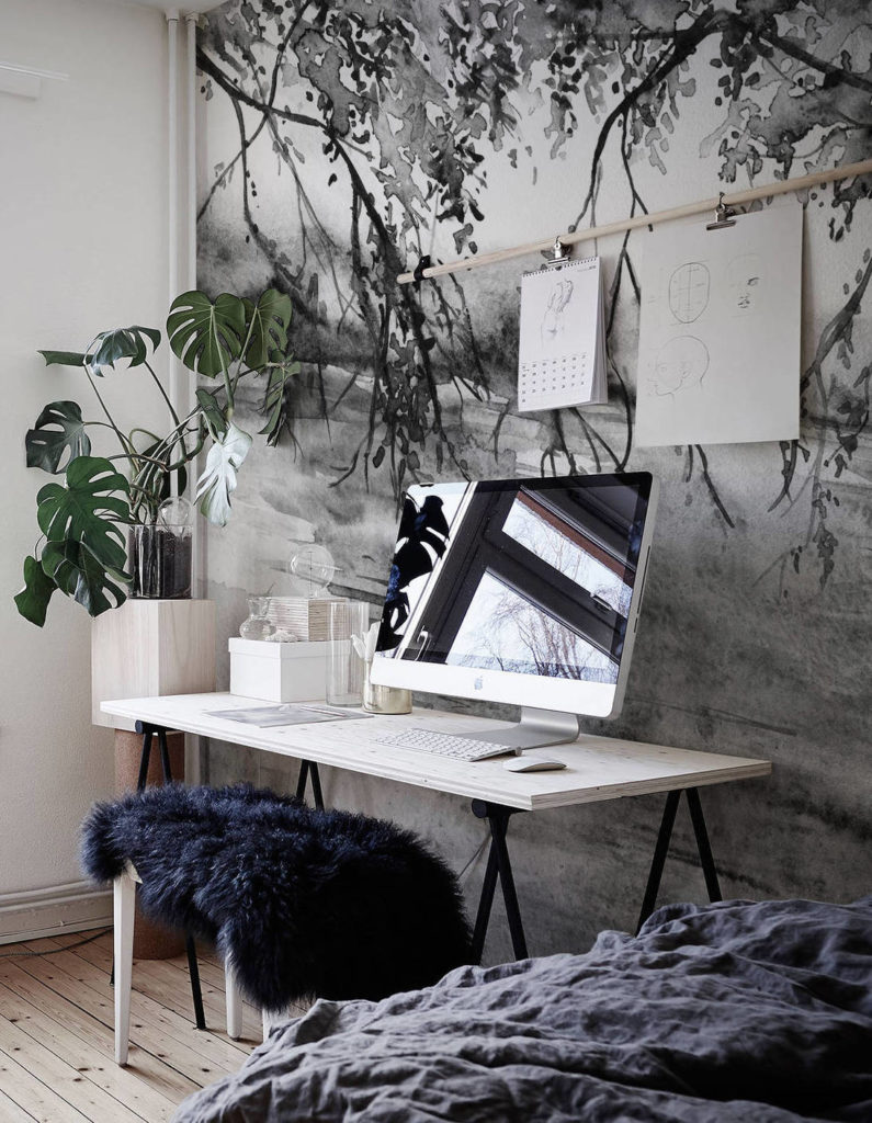 monochrome wallpaper trends, 2020 wallcovering trends,